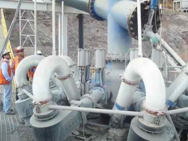 Hidrociclones en funcionamiento
